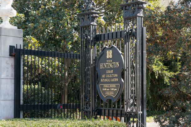 Huntington Library Entrance and Logo stock photo