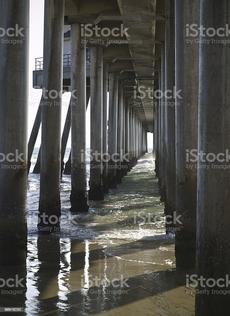 huntington pier pylons royalty-free stock photo