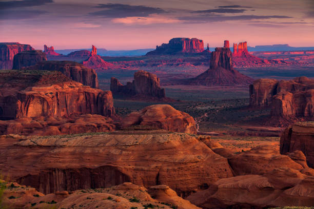Hunts Mesa navajo tribal majesty place near Monument Valley, Arizona, USA stock photo