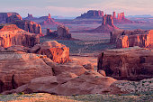 Monument Valley from Hunt's Mesa at sunrise, Arizona.