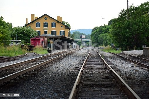 A view down the tracks to the old Huntsville train depot.