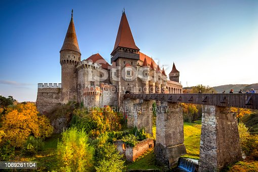Hunyad or Corvin castle seen at the golden hour, in Hunedoara, Transylvania, Romania. Photo taken on 20th of October 2018.