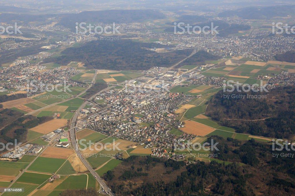 Hunzenschwil Canton Aargau Switzerland aerial view photography stock photo