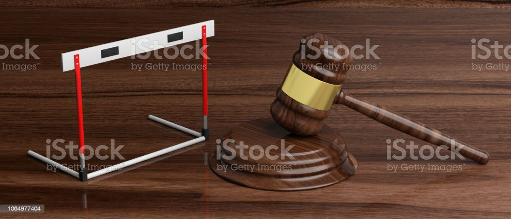 Hurdle And Judge Gavel Against Wooden Background 3d ...