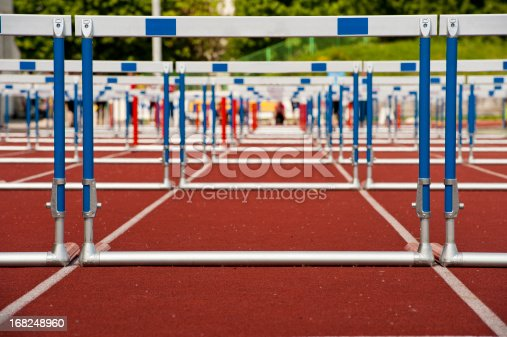 Bottom view of hurdles ready for the 110 m race
