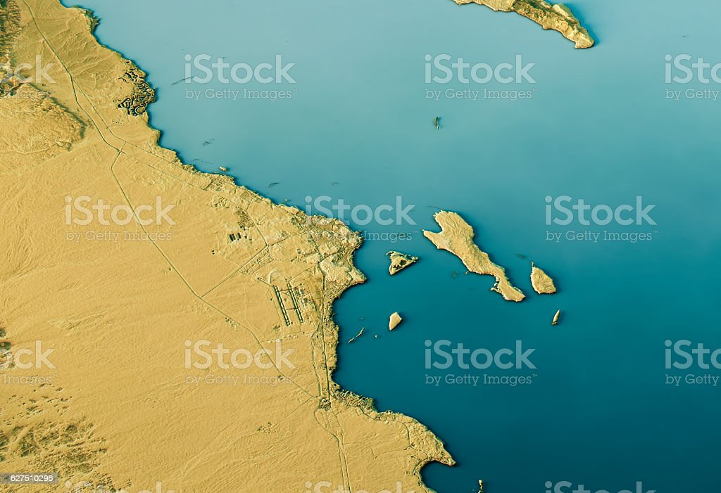 Hurghada 3D Landscape View South-North Natural Color Top View stock photo