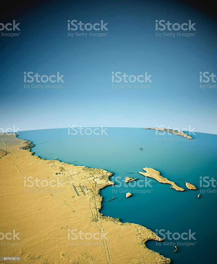 Hurghada 3D View South-North Natural Color stock photo