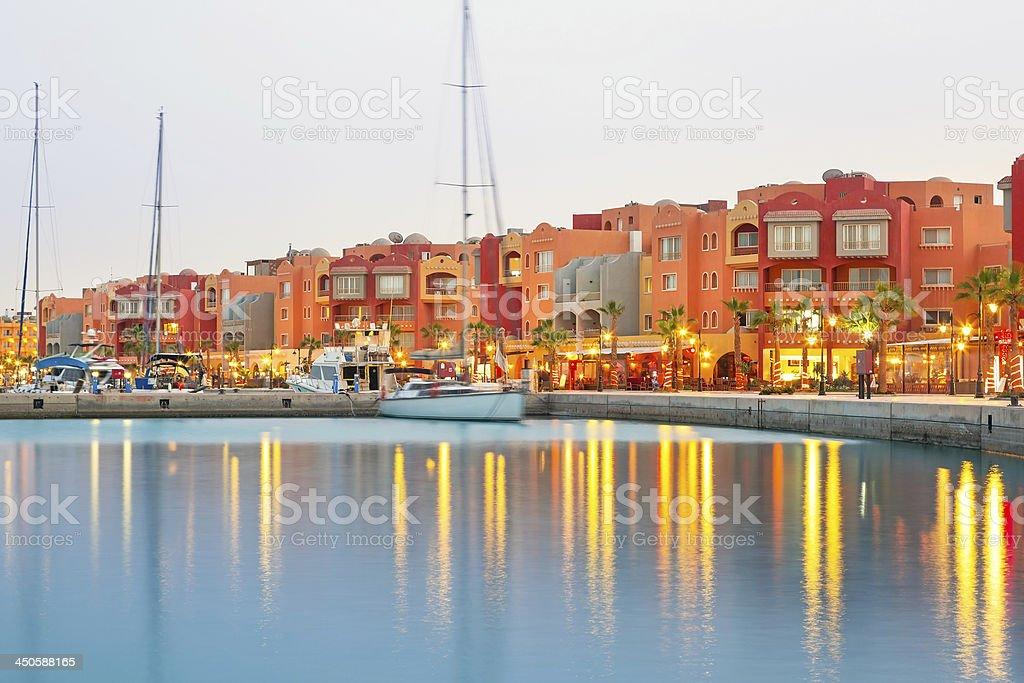 Hurghada Marina at dusk in Egypt royalty-free stock photo