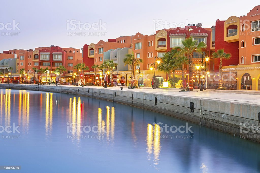 Hurghada Marina at dusk in Egypt stock photo