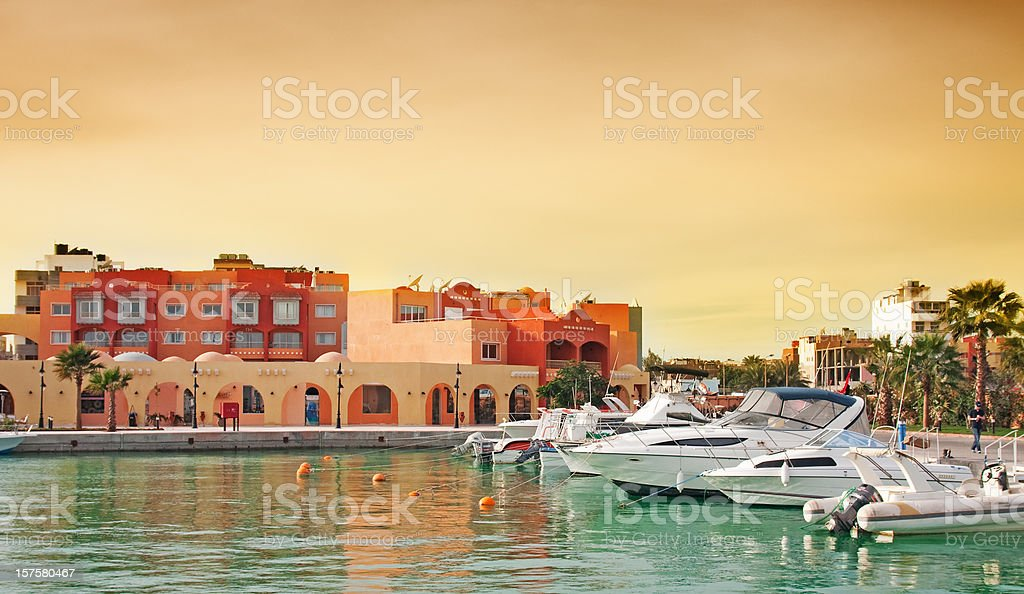 Hurghada Marina boulevard stock photo
