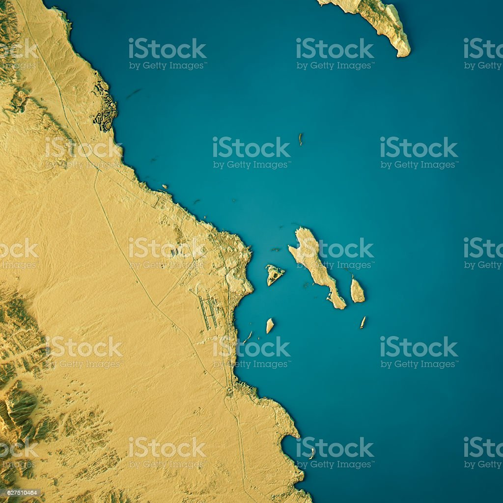 Hurghada Topographic Map Natural Color Top View stock photo
