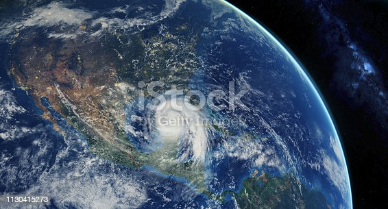 hurricane approaching the American continent visible above the Earth, a view from the satellite.