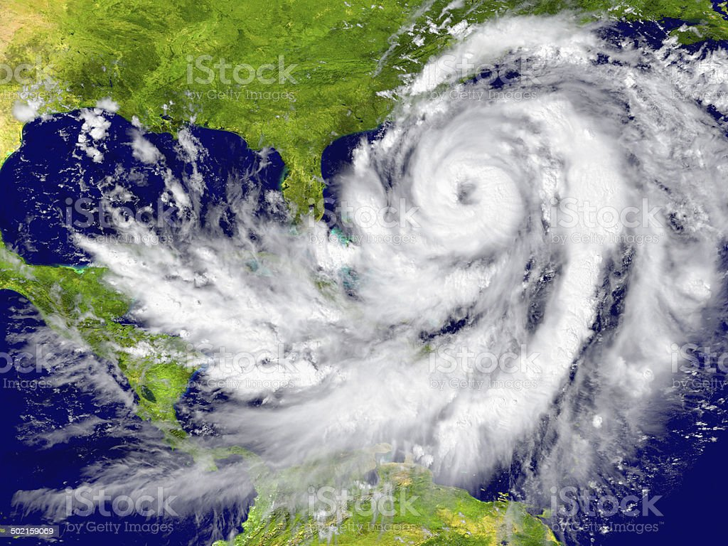 Hurricane between Florida and Cuba stock photo