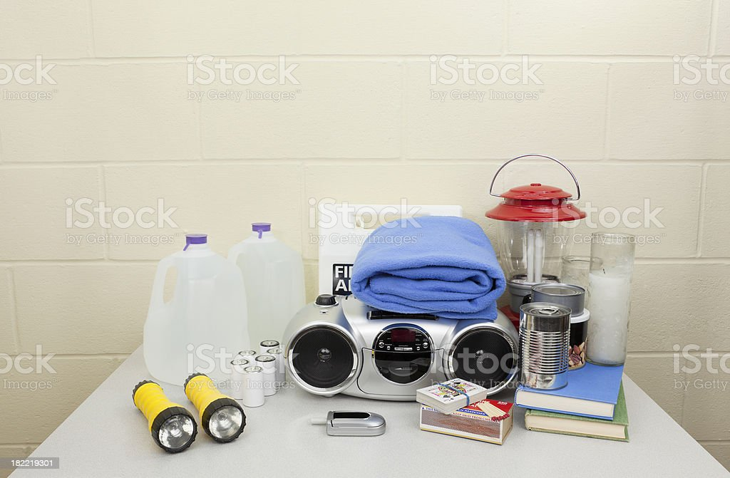 Hurricane, Blackout, or Disaster Supplies royalty-free stock photo