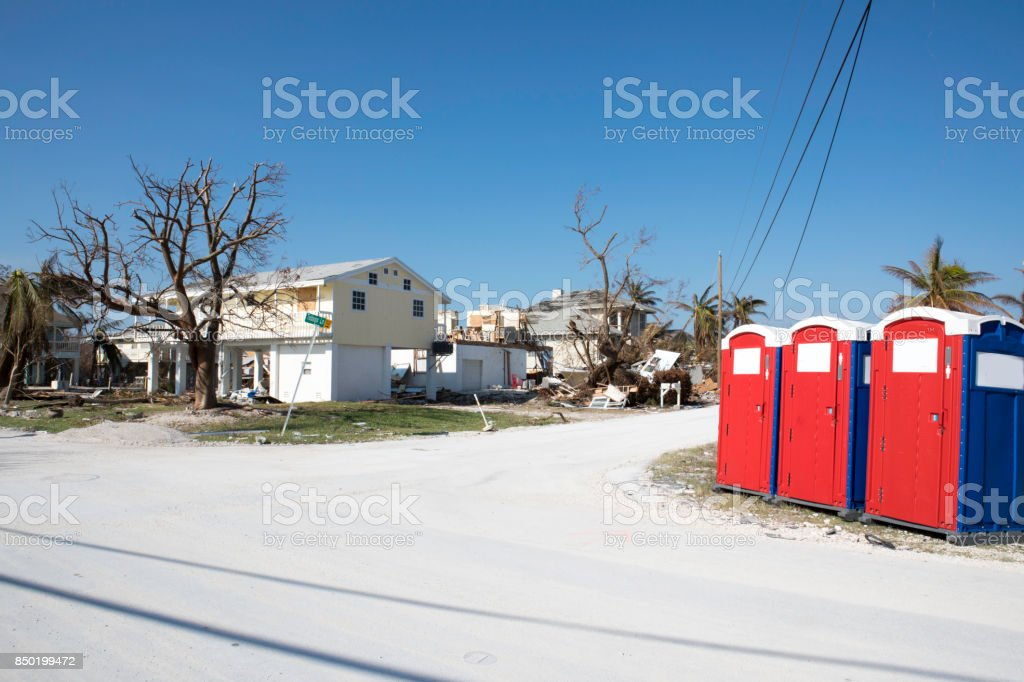 Hurricane damage on a street in Ramrod Key in the aftermath of Hurricane Irma stock photo
