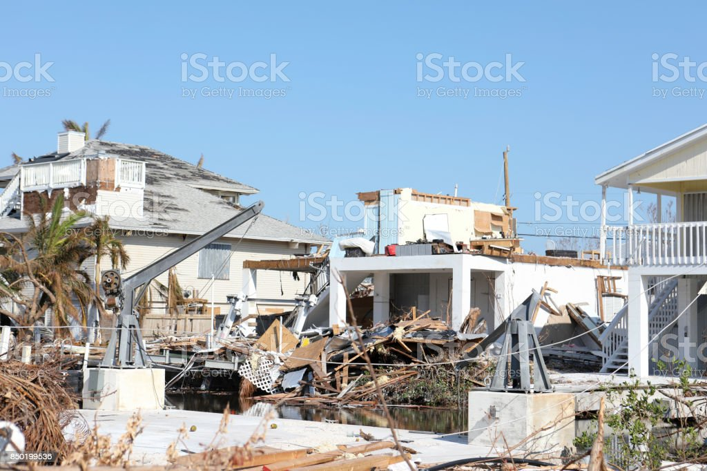 Hurricane damage on street in Ramrod Key in the aftermath of Hurricane Irma stock photo