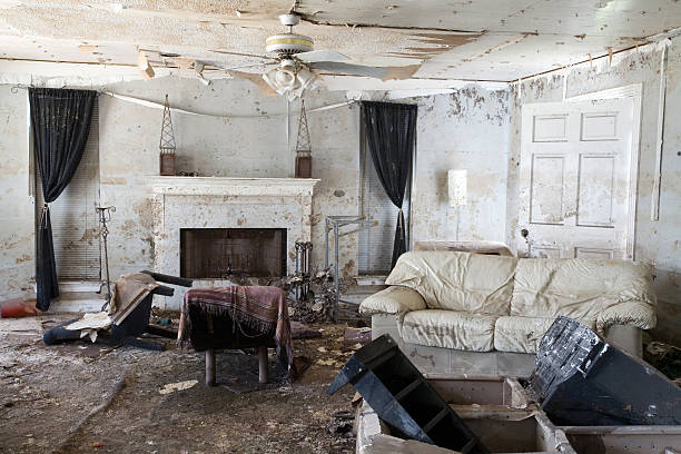 hurricane damage - flooded room stock photos and pictures