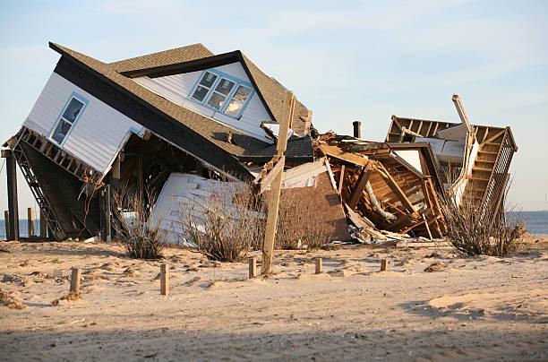 hurricane damage beach house on Bolivar Peninsula damaged by hurricane destruction stock pictures, royalty-free photos & images