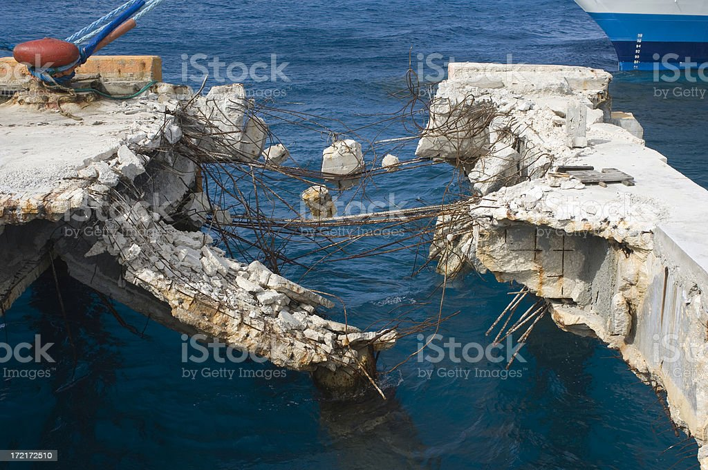Hurricane Destroyed Concrete Commercial Dock royalty-free stock photo