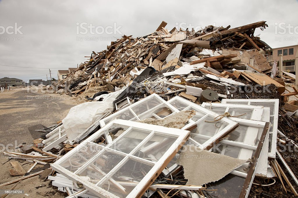 Hurricane Destruction, New Jersey Shore after Super Storm Sandy stock photo
