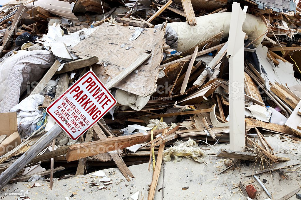 Hurricane Destruction with Sign royalty-free stock photo