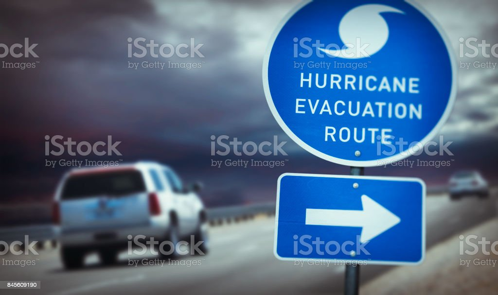 Hurricane evacuation route sign on highway stock photo