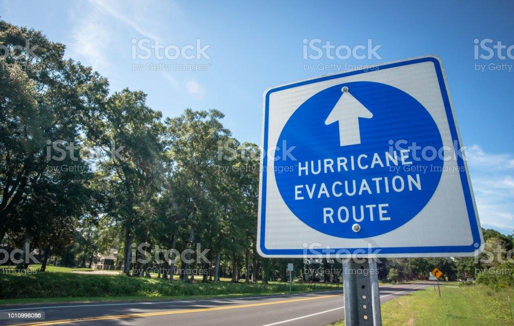 Hurricane Evacuation Route Sign royalty-free stock photo