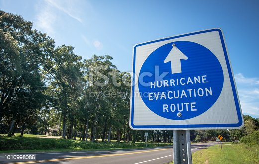 A sign directs hurricane evacuees to safety.