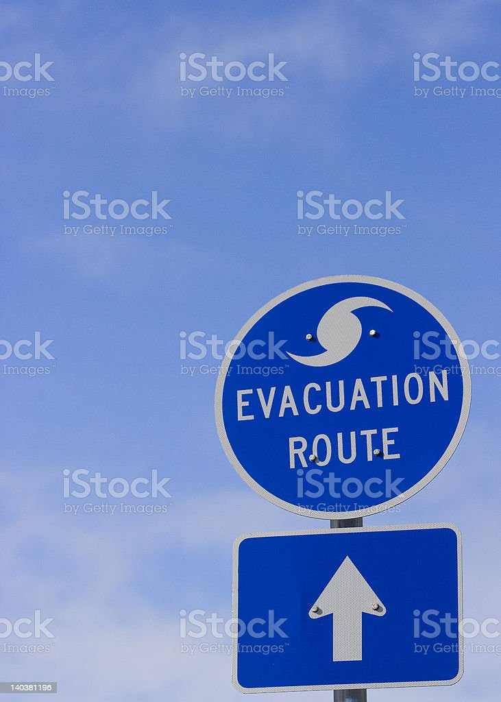 Hurricane Evacuation Route toward Blue Skys stock photo