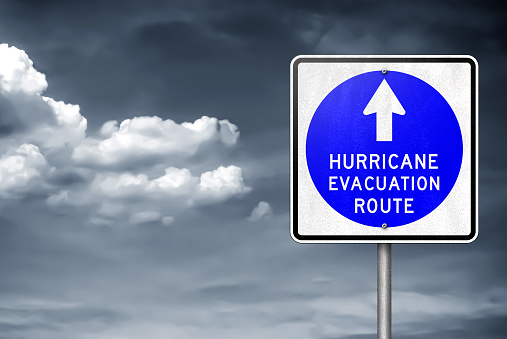 Hurricane evacuation route - traffic sign information