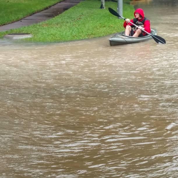 Hurricane Harvey Floodwater Kayaking stock photo