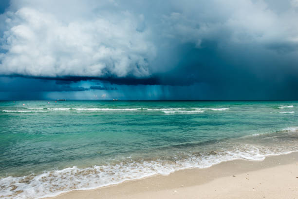 Hurricane in Florida.  Clouds of storm over the ocean. Miami beach stock photo