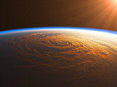 Hurricane in The Rays Of Sun. 3D Illustration.