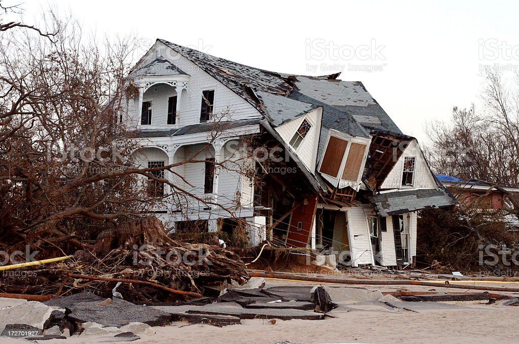 Hurricane Katrina-  Collapsing House after stock photo