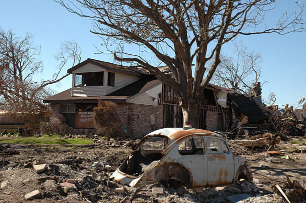 Hurricane Katrina damage in New Orleans stock photo