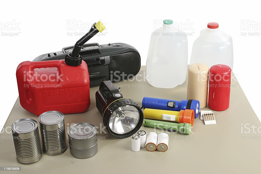 Hurricane kit supplies on wooden table stock photo