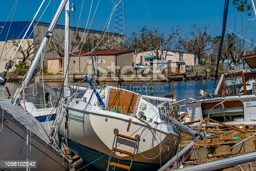 Watson Bayou in Panama City, Florida. Hurricane Michael destroys marina and sailboats