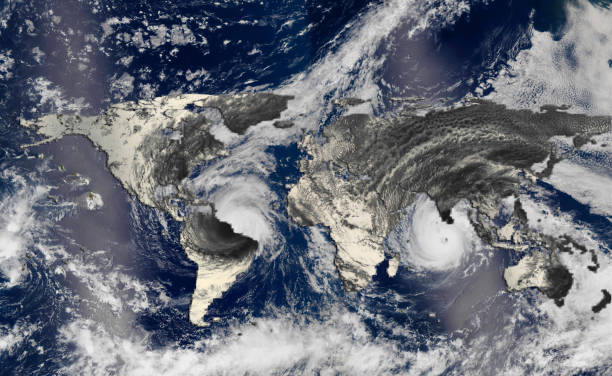 hurricane over the world map silhouette, elements of this image furnished by nasa - climate stock photos and pictures