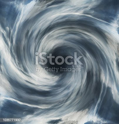 Stylized hurricane cloud formations.  Composite image.