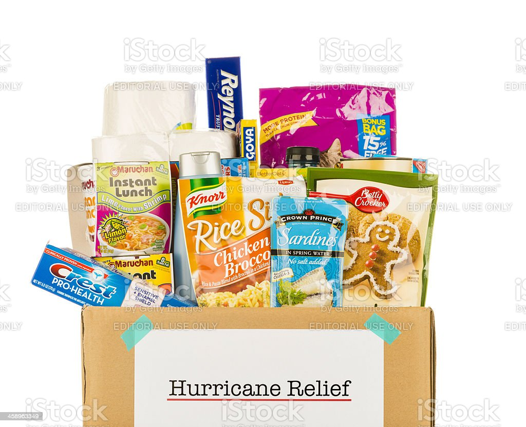 Hurricane Relief Grocery Collection royalty-free stock photo