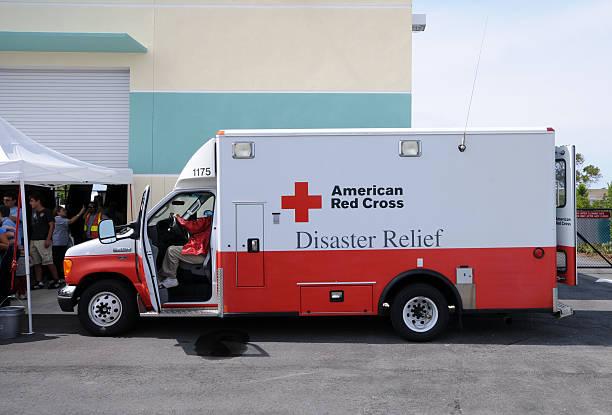 Hurricane relief truck stock photo