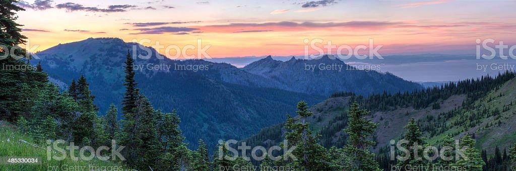 Hurricane Ridge Sunset Panorama stock photo