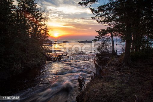 136169151 istock photo Hurricane River And Lake Superior Sunset At Pictured Rocks Lakeshore 474673518