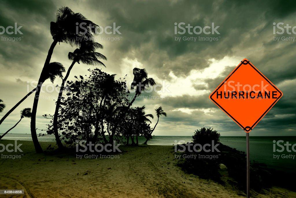 Hurricane Road Sign stock photo