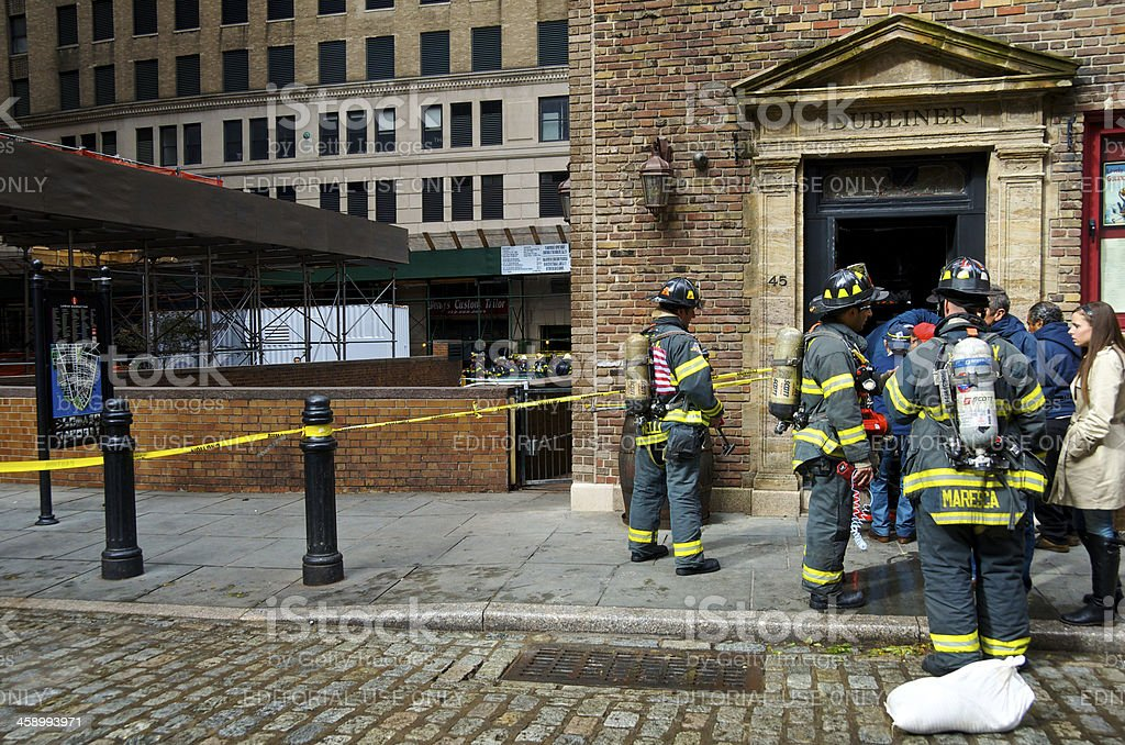 hurricane sandy aftermath fdny firemen at flooded business nyc stock