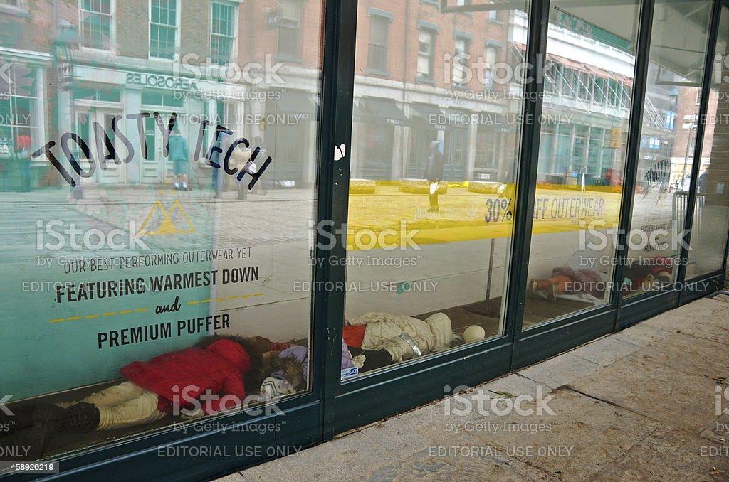 Hurricane Sandy aftermath, Storefront Dummies Fallen, Lower Manhattan, NYC royalty-free stock photo