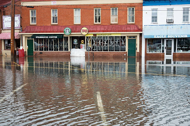 Hurricane Sandy Flood Closes Businesses at Annapolis Harbor stock photo