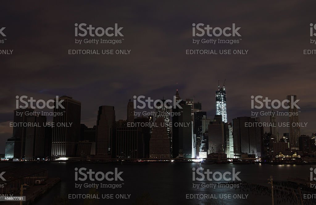 Hurricane Sandy Manhattan blackout second night WTC lit up stock photo