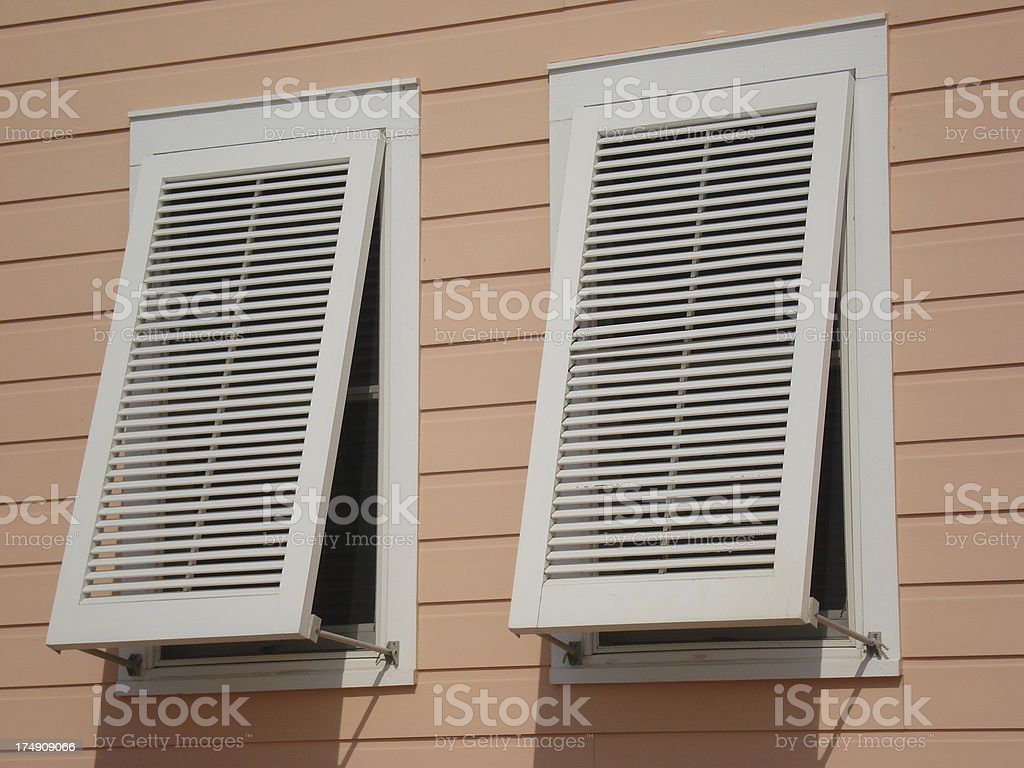 Hurricane Shutters on Beach House royalty-free stock photo