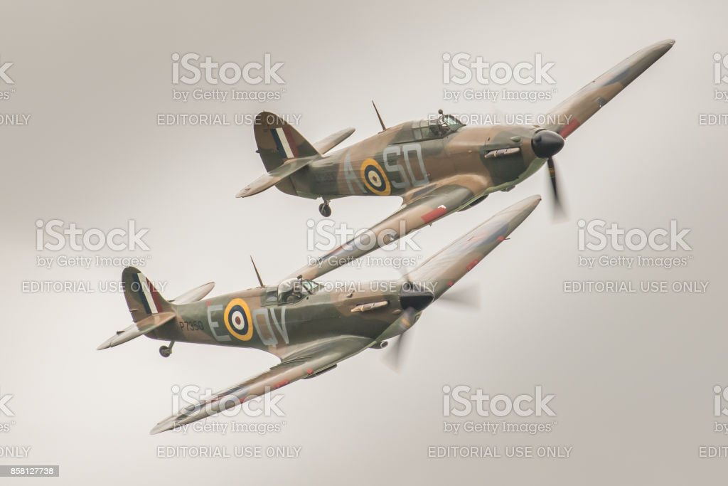 Hurricane & Spitfire - Battle of Britain / WWII fighter aircraft stock photo